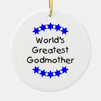 World s Greatest Godmother blue stars Ornament