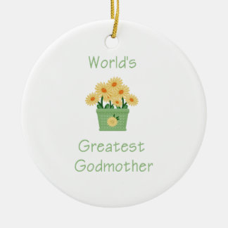 World s Greatest Godmother yellow flowers Christmas Ornament