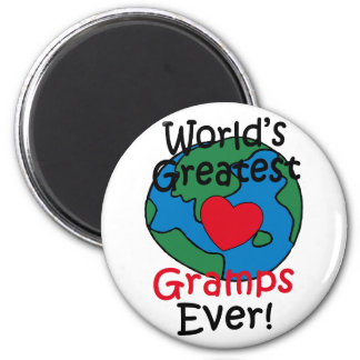 World's Greatest Gramps Heart 2 Inch Round Magnet