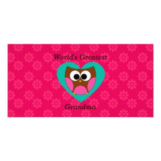 World s greatest grandma cute owl photo card