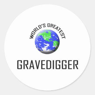 World s Greatest Gravedigger Round Stickers