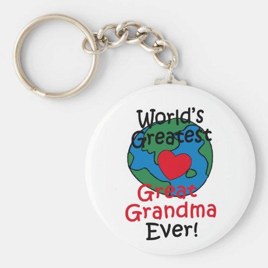 World's Greatest Great Grandma Heart Keychain