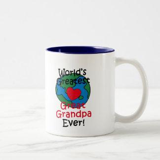 World's Greatest Great Grandpa Heart Two-Tone Coffee Mug