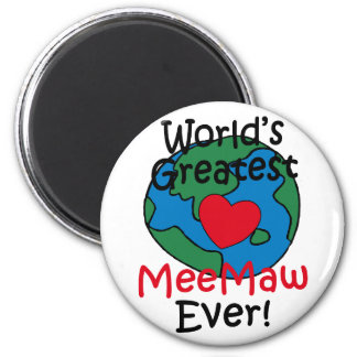 World's Greatest MeeMaw Heart 2 Inch Round Magnet