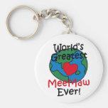World's Greatest MeeMaw Heart Keychains