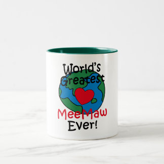 World's Greatest MeeMaw Heart Two-Tone Coffee Mug