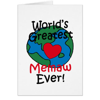 World's Greatest Memaw Heart Greeting Card