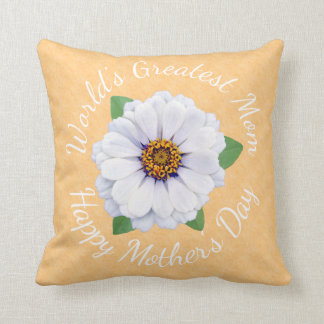World's Greatest Mom White Zinnia Flowers Custom Throw Pillow