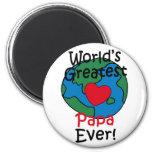 World's Greatest Papa Heart 2 Inch Round Magnet