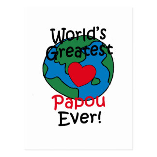 World's Greatest Papou Heart Postcard