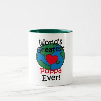 World's Greatest Poppa Heart Two-Tone Coffee Mug