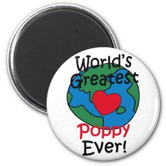 World's Greatest Poppy Heart 2 Inch Round Magnet