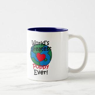 World's Greatest Poppy Heart Two-Tone Coffee Mug