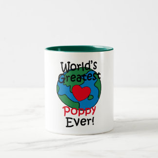 World's Greatest Poppy Heart Two-Tone Coffee Mug