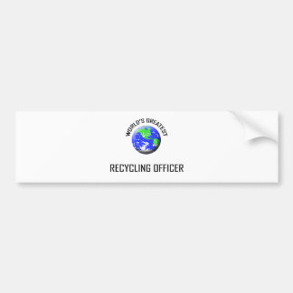 World s Greatest Recycling Officer Bumper Sticker