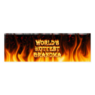 World s hottest Grandma fire and flames red marble Business Card