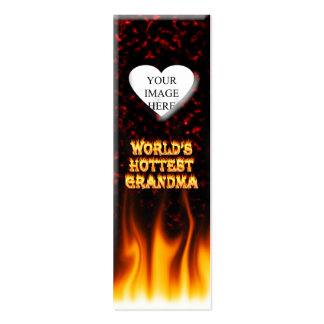 World s hottest Grandma fire and flames red marble Business Cards