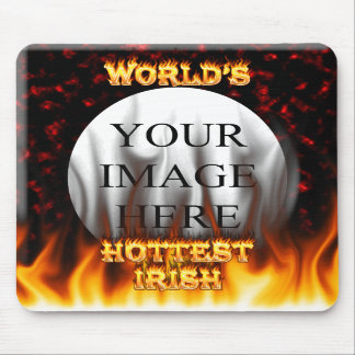 World s Hottest Irish fire and flames red marble Mouse Pads