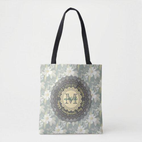 Worldâs Loveliest Grandmother Daisy Lace Monogram Tote Bag