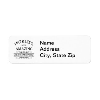 World s Most Amazing Great Grandfather Custom Return Address Labels