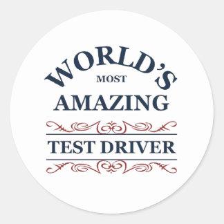 World s most amazing test driver round sticker