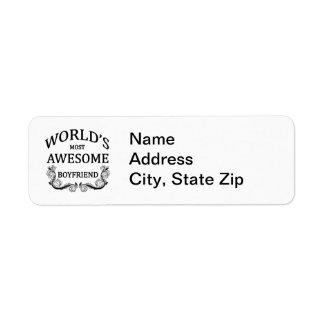 World s Most Awesome Boyfriend Custom Return Address Label