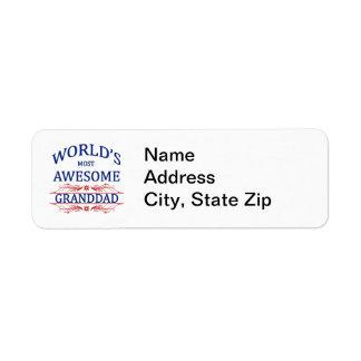 World s Most Awesome Granddad Custom Return Address Label