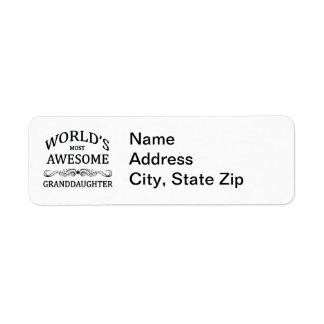 World s Most Awesome Granddaughter Custom Return Address Label