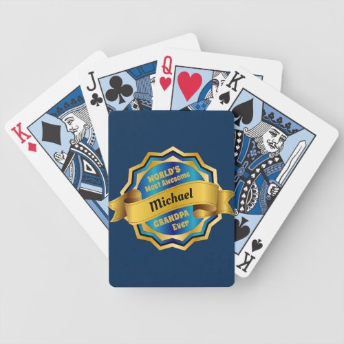Worldâs Most Awesome Grandpa Gold Blue Award Bicycle Playing Cards