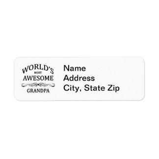 World s Most Awesome Grandpa Custom Return Address Labels