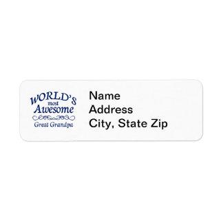World s Most Awesome Great Grandpa Custom Return Address Label