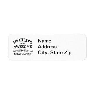 World s Most Awesome Great Grandpa Return Address Label