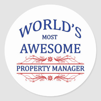 World s Most Awesome Property Manager Round Sticker
