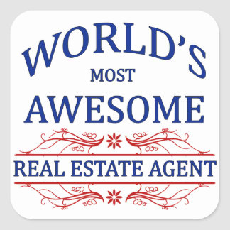 World s Most Awesome Real Estate Agent Square Sticker