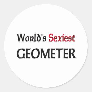World s Sexiest Geometer Round Stickers