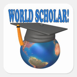 World Scholar 4 Square Sticker