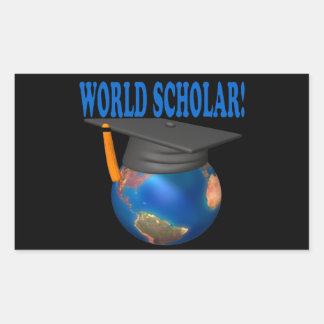 World Scholar 4 Rectangular Sticker