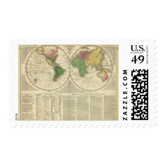 World shown as two hemispheres postage