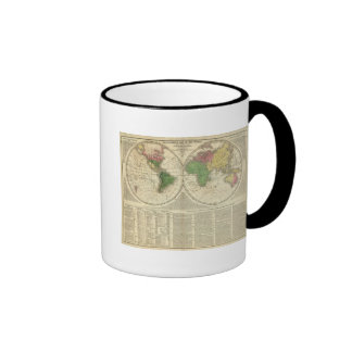 World shown as two hemispheres ringer coffee mug