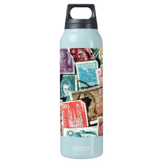 World Stamp Collage Liberty Thermos Bottle