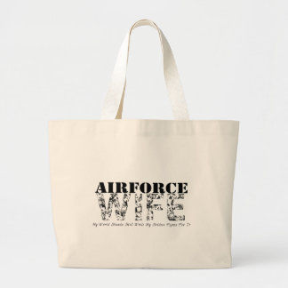WORLD STANDS STILL Air Force Wife Large Tote Bag