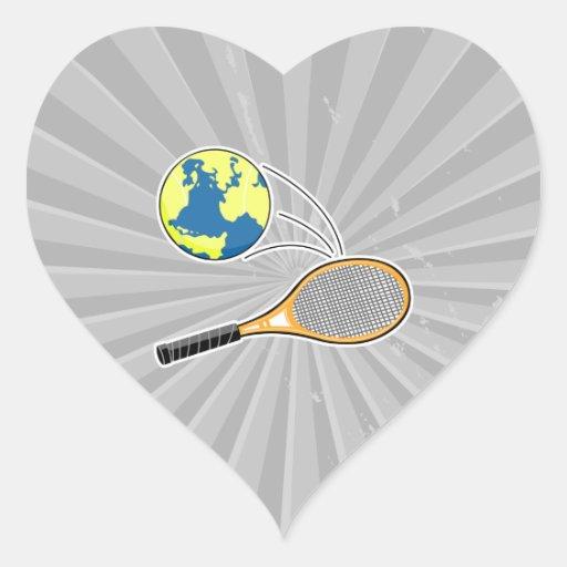 world tennis sports design heart sticker