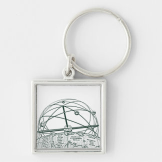 World Time Clock,Alexanderplatz,Berlin,B&W(pc) Silver-Colored Square Keychain