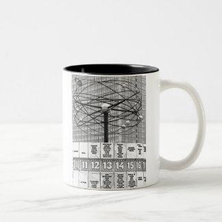 World Time Clock, Alexanderplatz, Berlin, B & W (W Two-Tone Coffee Mug