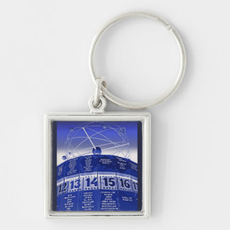 World Time Clock,Alexanderplatz,Berlin,in Blue Silver-Colored Square Keychain