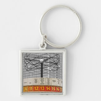 World Time Clock,Alexanderplatz,Berlin,Part B&W Silver-Colored Square Keychain