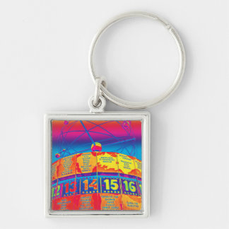 World Time Clock,Alexanderplatz,Berlin,Rainbow Silver-Colored Square Keychain