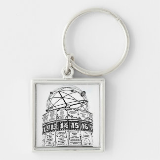 World Time Clock,Alexanderplatz,Berlin,Sketch(1) Silver-Colored Square Keychain