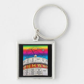 World Time Clock, Alexanderplatz, Berlin (Wc6rb) Silver-Colored Square Keychain