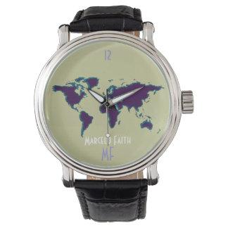 world time clock & map wrist watches